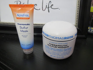 Drugstore dupes skincare AcneFree sulfur and Peter Thomas Roth sulfur masque
